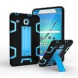 Ycxbox Samsung Galaxy Tab E 8.0' T377 Case, Galaxy Rugged Kickstand Stand Heavy Duty Kids Proof Protective Case for SM-T377A / SM-T377V / SM-T377P (Black+Blue)