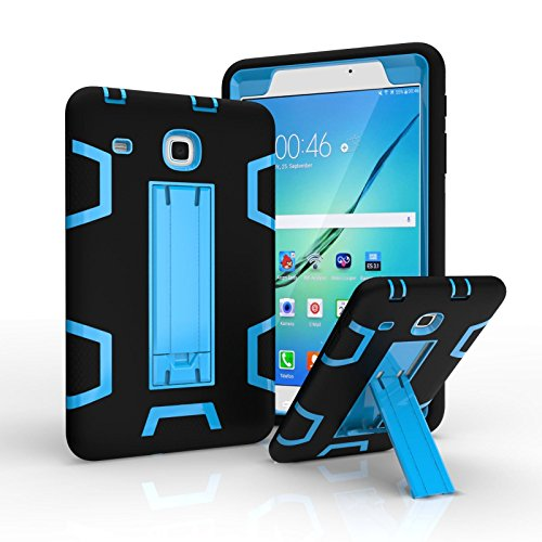 Ycxbox Samsung Galaxy Tab E 8.0 T377,Rugged Kickstand Heavy Duty Kids Proof Protective Glass Screen Protector Case Cover for SM-T377A / SM-T377V / SM-T377P (Black+Blue)