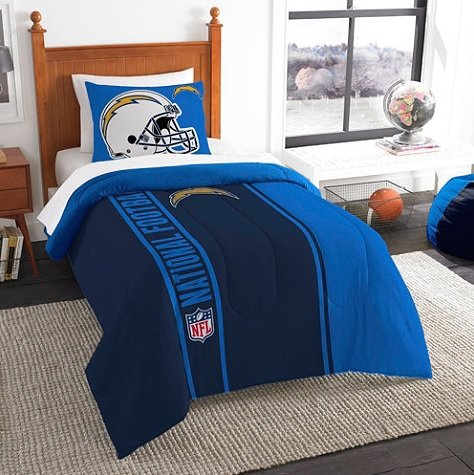 San Diego Chargers Twin Comforter & Sham Set, NFL Boys 2 Piece Bedding ()