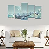Custom Custom Oil Painting Print Landscape Planets Mountains Clouds Drawing art Canvas Print Bedroom Wall Canvas Decoration Hotel Fashion Design Wall Art 5 Piece Oil Paintings Canvas (No Frame)