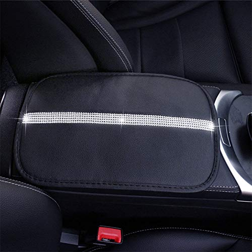 (Car Armrest Cover Center Console Cushion Lid Handrail Box Pad with Bling Matrix Diamond + Simple and Elegant Design + Soft and Durable Leather Stylish Collection Auto A (B - Black))