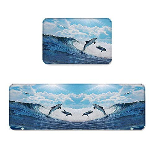 (YGUII Dolphin 2 Piece Non-Slip Kitchen Mat Runner Rug Set Doormat Area Rugs Two Surfing Dolphins in Waves Water 16X23.6in (40x60cm) and 16X47in (40x120cm))