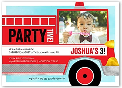 Amazon Com Birthday Invitations Fire Truck Fun Red Toys Games