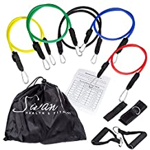 Sivan Health And Fitness Latex Resistance Band Set with Case (5-Piece)