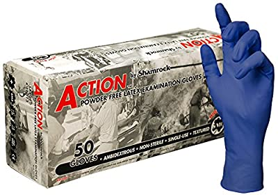 "Shamrock Action Safety Medical Grade Examination Glove, 15 mil, Powder-Free, Textured Rubber Latex, 12"" Extended Cuff"