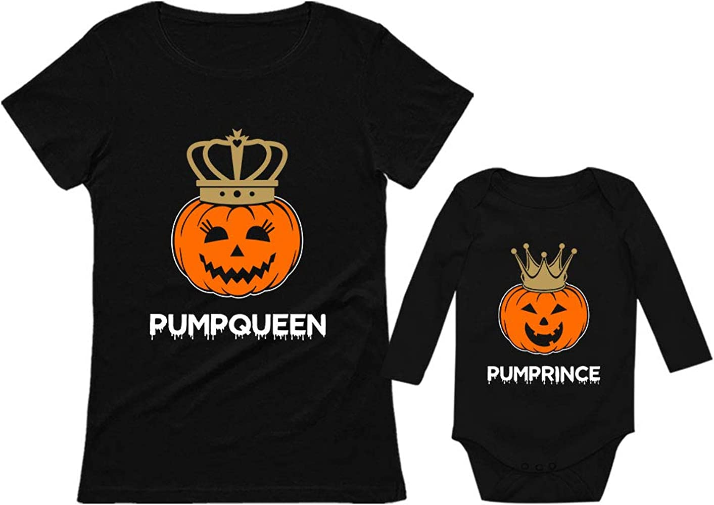 Mom And Baby Boy Matching Halloween Costumes.Amazon Com Halloween Pumpqueen Pumpprince Mom Son Shirts
