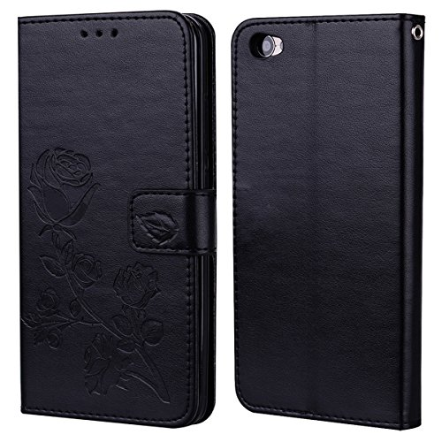 Xiaomi Redmi Note 5A Case,BasicStock Slim Premium PU Leather Flip Cell Phone Protective Case with Magnetic Closure Card Slot and Stand Function.Black ()