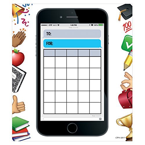 Creative Teaching Press Incentive Chart Emoji Fun Smart Phone Fun Student Incentive Charts, Ctp 0695