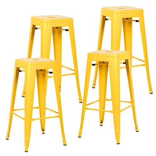 Poly and Bark Trattoria 30 Inch Metal Bar Counter Stool, Industrial, Backless, Stackable in Yellow (Set of 4)
