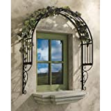 Design Toscano Thornbury Ornamental metal Garden Window Trellis, Black