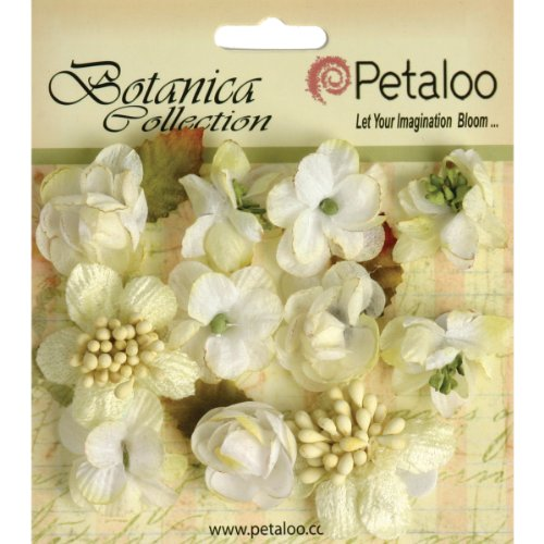 PETALOO Botanica Minis Decorative Flower, 1-Inch, White, 11-Pack by PETALOO