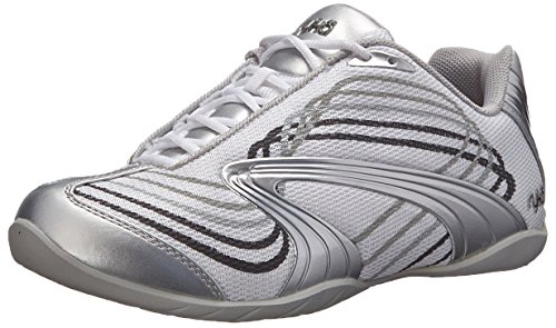 RYKA Women's Studio D Cross-Training Shoe, White/Chrome Silver/Iron Grey/Frost Grey, 8 M US (Womens Ryka Studio)