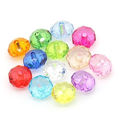 Rockin Beads Mixed Faceted Acrylic Rondelle Spacer Beads 12mm 190 Pack (2.1mm Hole)
