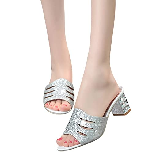 7fa6298f0ac345 Image Unavailable. Image not available for. Color  Baiggooswt Women Fashion  Roma Bling Crystal High Heel Slipper Sandals Peep Toe ...