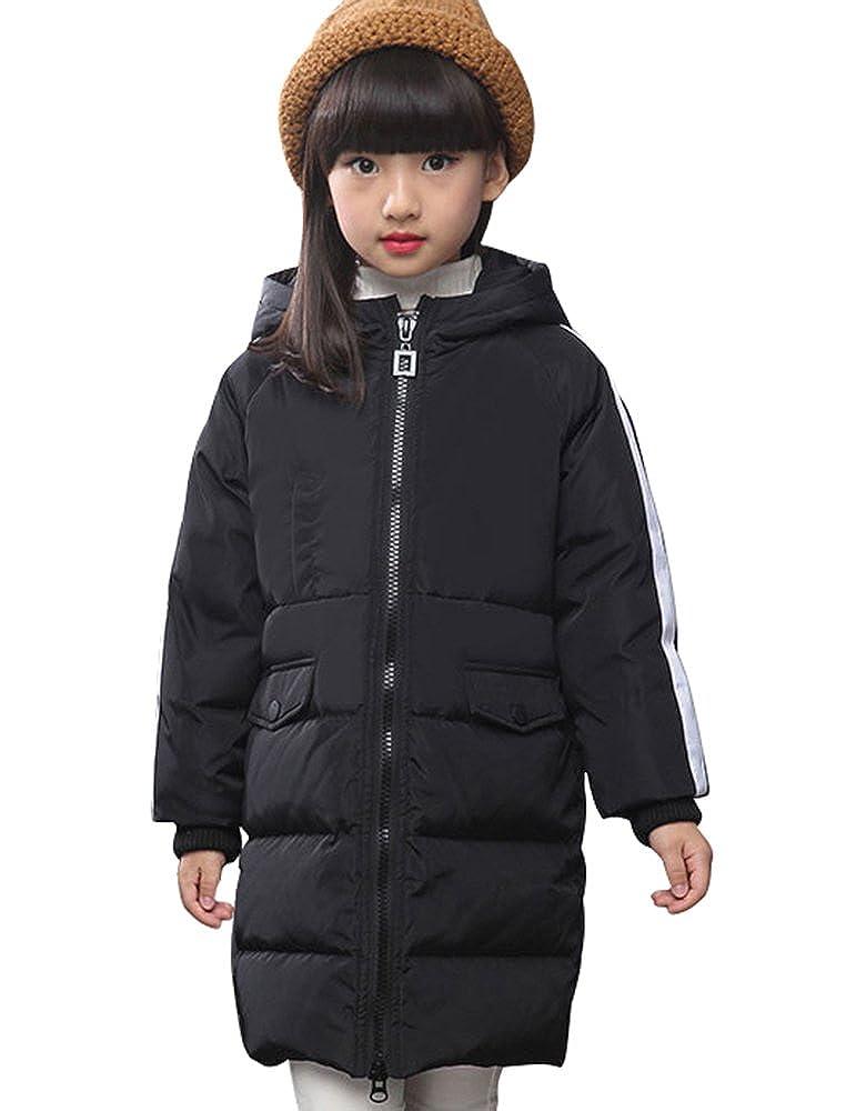 Noir 120cm BININBOX® Filles de la Longue Doudoune Nouvelle Veste à Capuche d'hiver