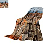 Anhuthree European Super Soft Lightweight Blanket Aerial View on The Old City of Dubrovnik Walls Medieval Croatia European Decor Summer Quilt Comforter 62''x60'' Multicolor