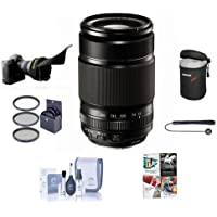 Fujifilm XF 55-200mm (83-300mm) F3.5-4.8 R LM OIS Lens - Bundle with 62mm FilterKit (UV/CPL/ND2), Soft Lens Case, Cleaning Kit, Capleash, Flex Lens Shade, Professional Software Package