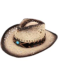 Child's Costume Party Cowboy Cowgirl Straw Hat With Blue Stone Brown