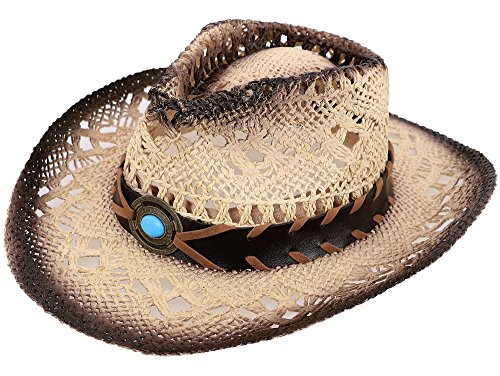 Simplicity Child's Costume Party Cowboy Cowgirl Straw Hat with Blue Stone Brown]()