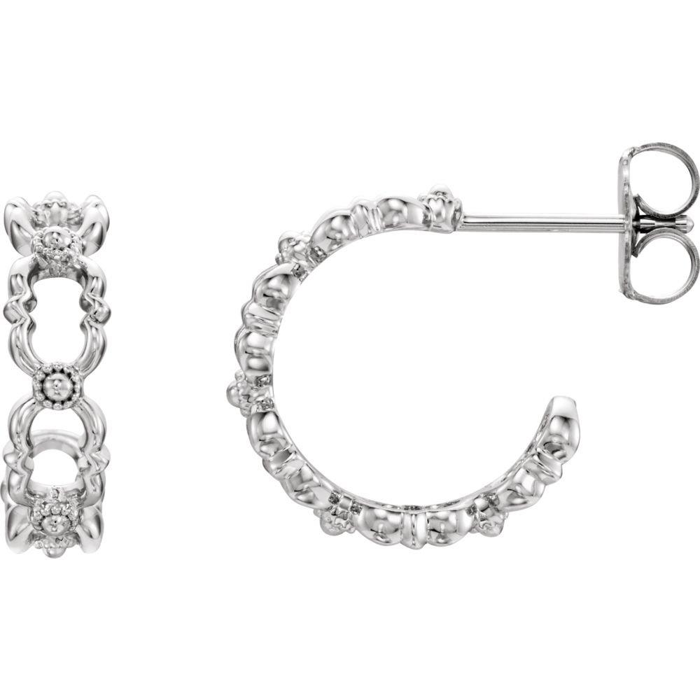 Sterling Silver Quatrefoil Hoop Earrings