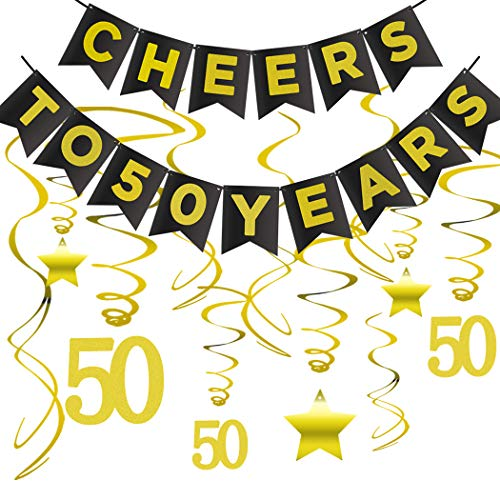 (50th BIRTHDAY PARTY DECORATIONS KIT - Cheers to 50 Years Banner, Sparkling Celebration 50 Hanging Swirls, Perfect 50 Years Old Party Supplies 50th Anniversary Decorations)