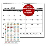 "Large Wall Calendar 2018-2019 Monthly: Hanging Calendar with Handy Planner Stickers for Family and Office, 15 Months 15x12"" Twin Wirebond (Black), USE Now - October 2018 to December 2019, by Cranbury"