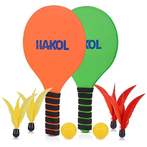 (HAKOL Premium Paddle Ball 2 Player Bundle - 2 Durable Paddles, 2 Balls, 2 Red & 2 Yellow Birdie Feather Balls - Great for Indoors, Outdoors, Beach & Pool Fun & Sports - Suitable for Kids & Adults)