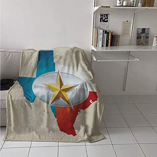 Maisi Lightweight Blanket, Cowboy Belt Buckle Star Design with Texas Map Southwestern Parts of America, Throw Blanket for Kids 50x30 Inch Multicolor