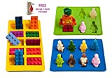 Lucentee Silly Ice Cube Trays Candy Molds, Building Bricks and Figures with Bonus Ebook