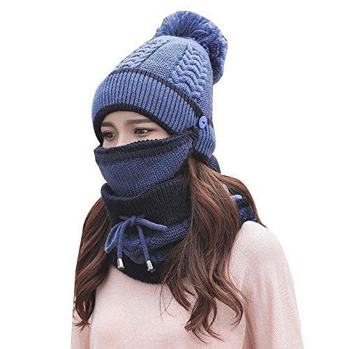 Winter Wolle Gestrickt mütze und Schal Kälteschutz Gesichtsmaske ...
