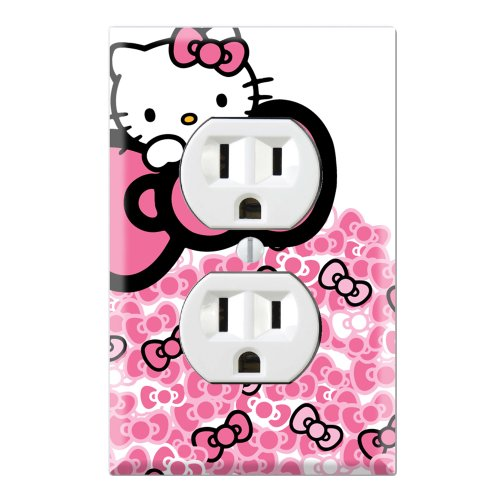 Duplex Wall Outlet Plate Decor Wallplate - Hello Kitty Pink Bow -