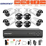 [2018 NEW]HD Security Camera System,SMONET 8CH 1080N Home Security Camera System(1TB Hard Drive),8pcs 720P Security Cameras,Video Surveillance System for Easy Remote Monitoring,Super Night Vision
