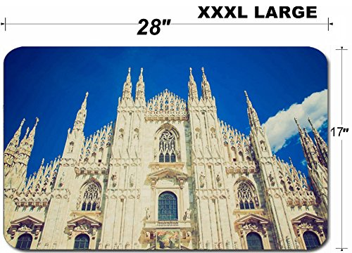 Milano Mat (Luxlady Large Table Mat Non-Slip Natural Rubber Desk Pads Vintage looking Duomo di Milano gothic cathedral church Milan Italy IMAGE ID 27588220)