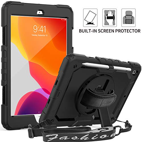 "iPad 7th Generation 10.2 Case, SEYMAC Full Body Protection Case with Built-in Screen Protector Pencil Holder [360 Rotating Hand Strap] Stand Shoulder Strap for 2019 iPad 7th Generation 10.2""-Black"