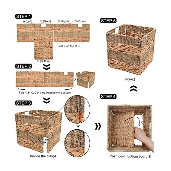 "StorageWorks Wicker Storage Baskets, 10.2""x10.2""x10.6"", 2-Pack - SPACE EFFICIENT: Collapsible design. STURDY: Hand woven over an iron frame. HOME DECOR: Versatile design fits well in your home. - living-room-decor, living-room, baskets-storage - 51htnf0OVNL. SS570  -"