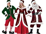 Adult Deluxe Flocked Velvet Santa Claus Christmas Costume Suit Party Cosplay Outfit