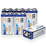 EBL 9 Volt 600mAh Li-ion Rechargeable 9V Batteries Lithium-ion, 6 Pack