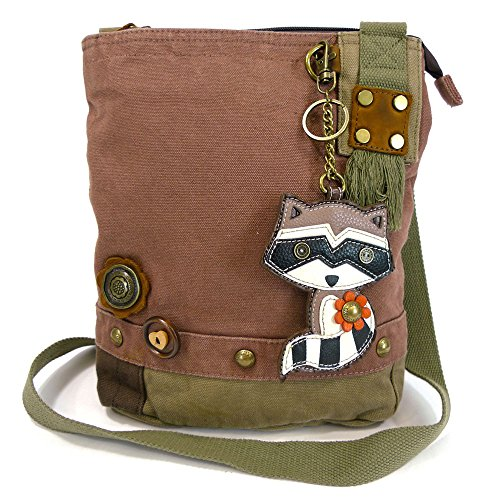 Faux Patchwork Animal Canvas Coin Crossbody Handbags Bags Messenger with Chala Leather Purse Raccoon 6zxHO