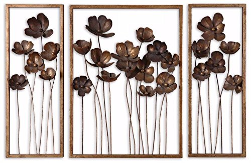 Uttermost Metal Tulips Wall Art in Antiqued Gold (Set of ()