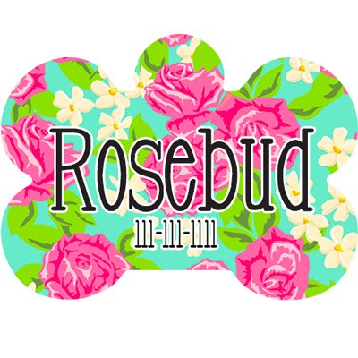 Plate Dog Rose (Custom Pet ID Tag Bone Shaped Pet Tag Rose Dog ID Tag 1.5