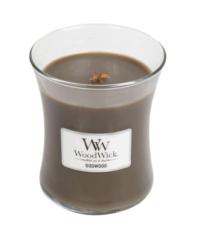 Oudwood WoodWick Glass Jar Scented Candle, Medium 10 oz.