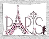 Ambesonne Paris City Decor Collection, Tower Eiffel With Paris Lettering Illustration Couple Trip Flowers Floral Artful Design, Bedroom Living Room Dorm Wall Hanging Tapestry, 80W X 60L Inch