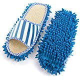 Sungpunet Pair House Floor Polishing Dusting Cleaning Foot Socks Shoes Mop Slippers Blue