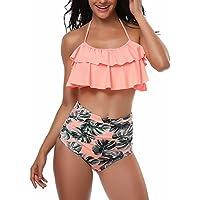 Girls Swimsuit Girl Bikini Set Two-Piece Ruffle Falbala Swimwear Bathing Suits(Pink,XL) X-Large Pink Women