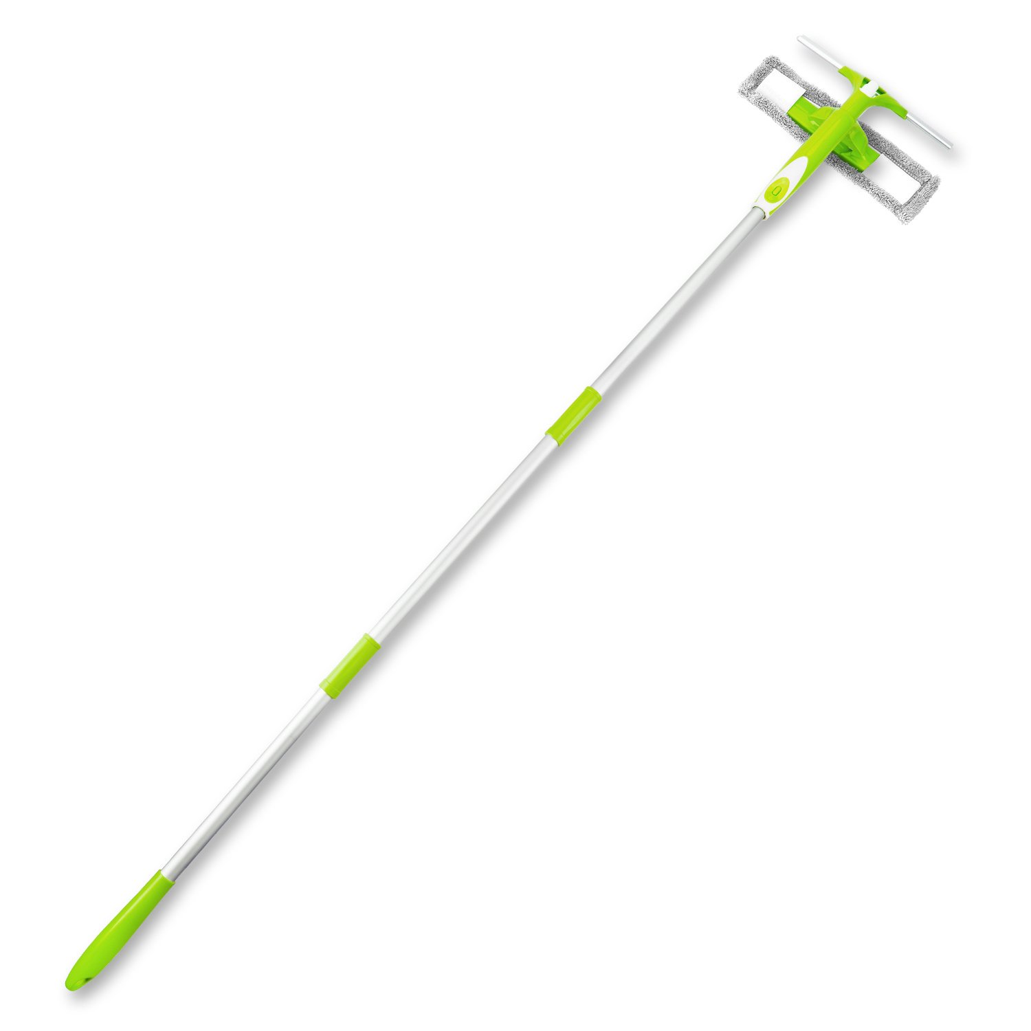 Als Ellan 3 in 1 Double Face Window Squeegee Cleaner Window Cleaning Kit Microfiber Scrubber with Spray Head and Extension Pole for Bathroom, Home, Shower, Auto(Green)