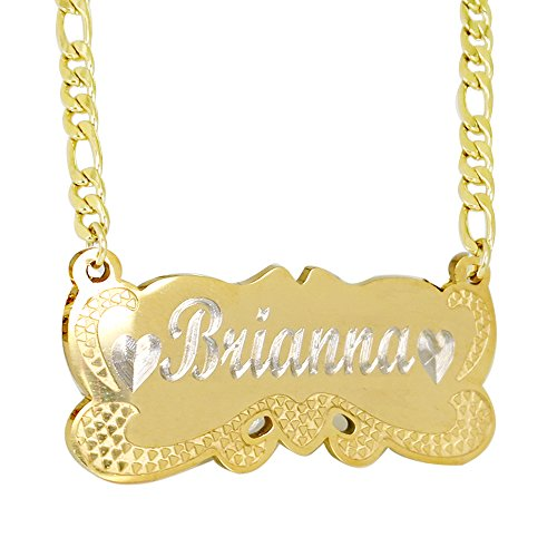 ProLuckis Personalized Name Necklace 18k Gold Plated Herringbone Necklace Customize Any Name Necklace (Gold)