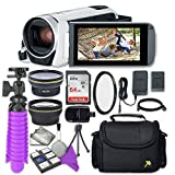 Canon VIXIA HF R800 (White) Camcorder with Sandisk 64 GB SD Memory Card + 2.2x Telephoto Lens + 0.42x Wideangle Lens + Accessory Bundle