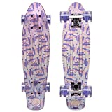 Cal 7 Complete Mini Cruiser   22 Inch Micro Board   Vintage Skateboard for School and Travel (Transparent Moxie)