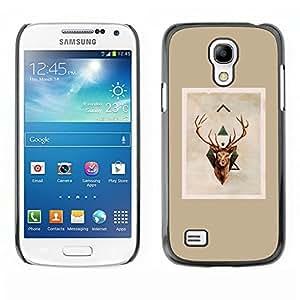 FlareStar Colour Printing Deer Antlers Christmas Brown Beige cáscara Funda Case Caso de plástico para SAMSUNG Galaxy S4 mini (NOT FOR S4!!!) / i9190 / i9192