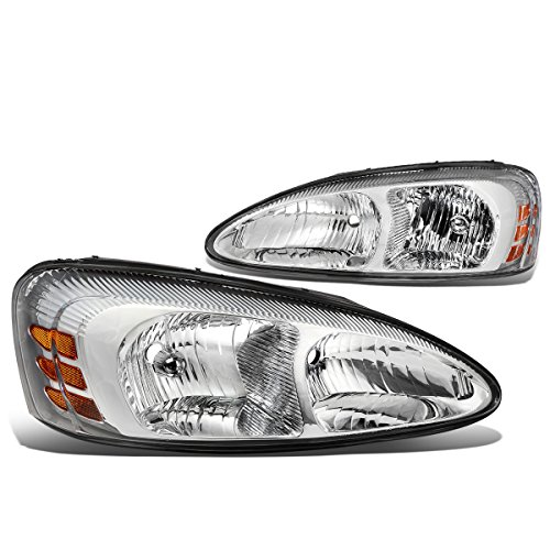 DNA Motoring HL-OH-083-CH-AM Chrome Housing Headlights [04-08 Pontiac Grand Prix] (Prix Switch Grand Pontiac Headlight)